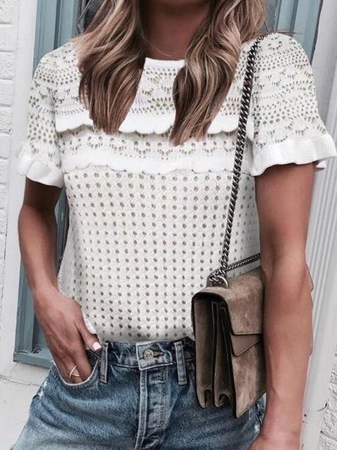 Plus Size Cutout Women Summer Knitted Blouses