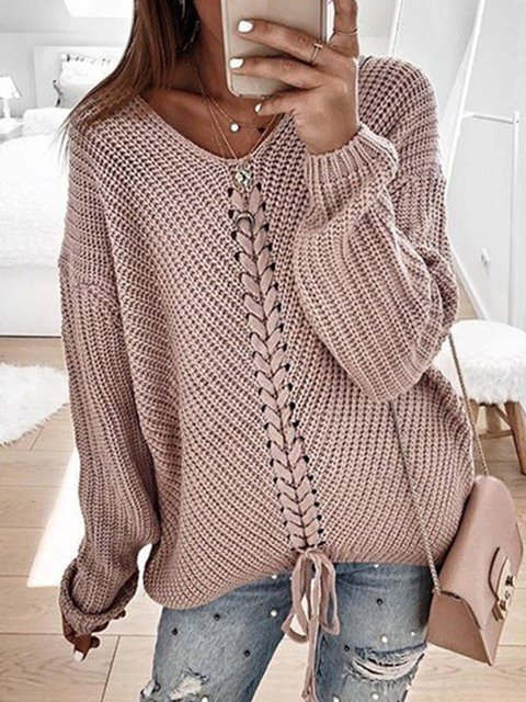 Plus Size Knitted Women 2019 Fall Pullover Sweaters