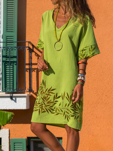 Summer Casual Holiday Cotton-Blend V Neck Short Sleeve Dresses
