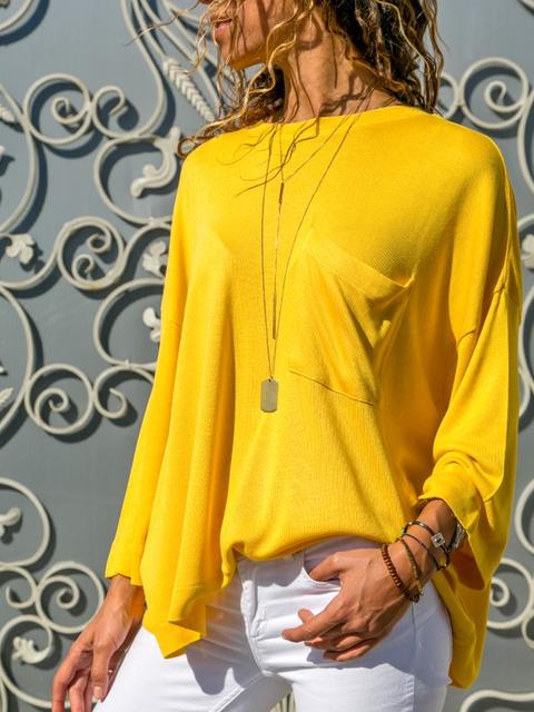 Yellow Crew Neck Long Sleeve Shirts & Tops