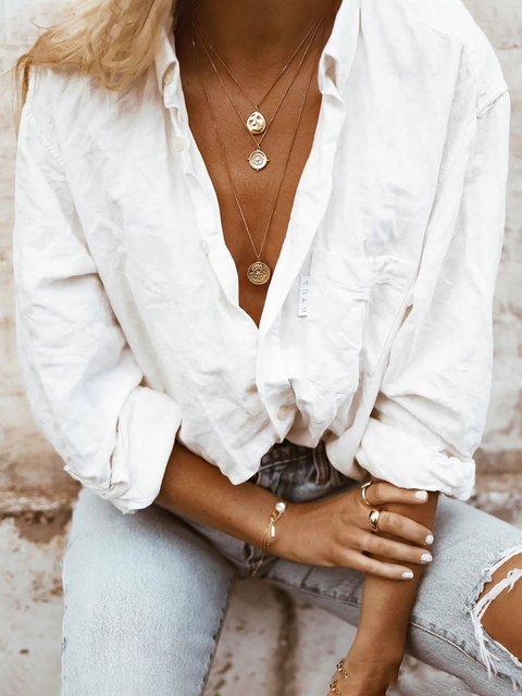 Plus Size Shirt Collar Long Sleeve Solid Shirts