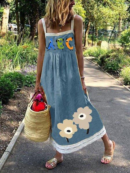 Square Neck Women Summer Dresses A-Line Outdoor Casual Dresses