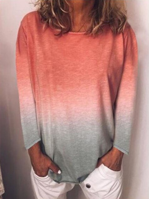 Long Sleeve Printed Casual Tie-Dye T-shirt