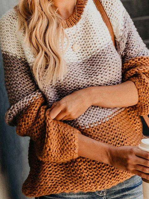 Khaki Crew Neck Casual Striped Sweaters
