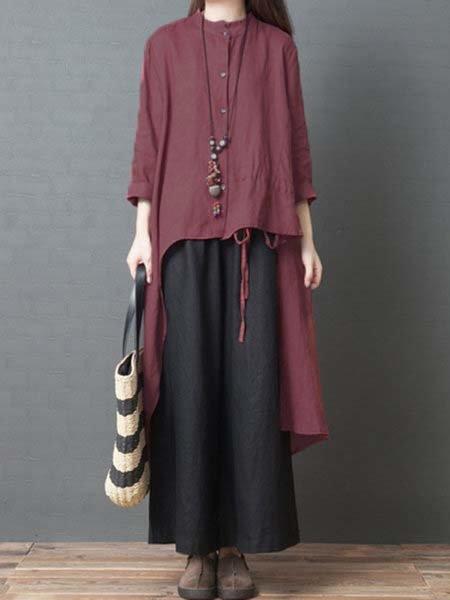Stand Collar Women  Daytime Linen Dresses
