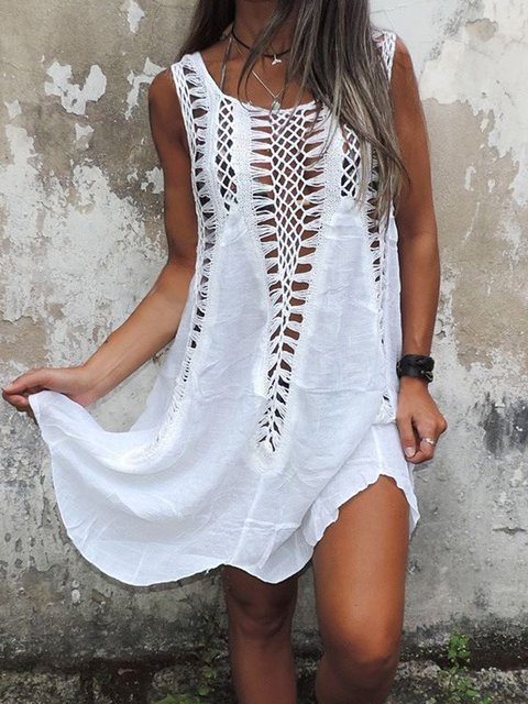 Casual V Neck Cutout Midi Dresses