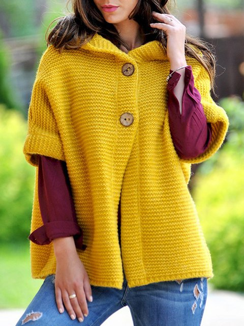 Short Sleeve Casual Hoodie Buttoned Plus Size Sweaters