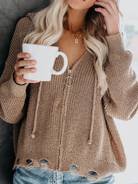 Khaki Solid Long Sleeve Zipper Hoodie Plus Size Sweaters