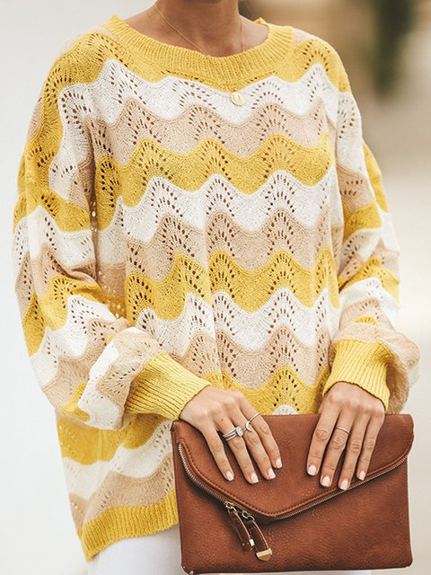 Yellow Crew Neck Long Sleeve Zigzag Plus Size Sweaters