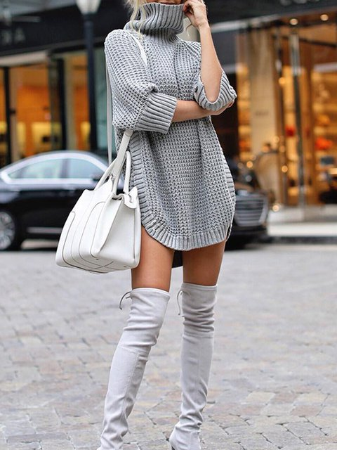 Solid Casual Turtleneck Fashion Women Sweater