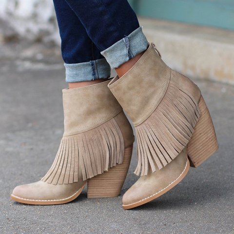 Plus Size Tassel Leather Chunky Heel Mid Boots