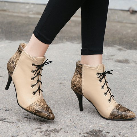 Stylish Leather Pointed Toe Stiletto Heel Lace Up Boots