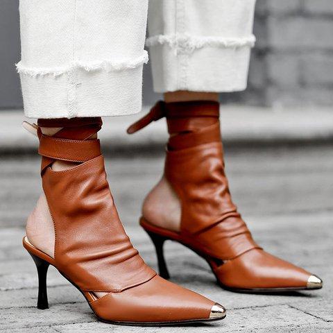 Stylish Genuine Leather Pointed Toe Stiletto Heel Boots