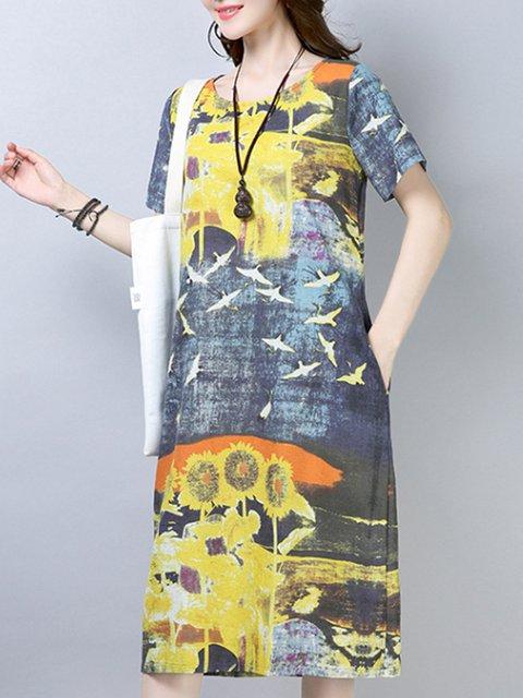 Loose Fit Print Women Summer Midi Dresses