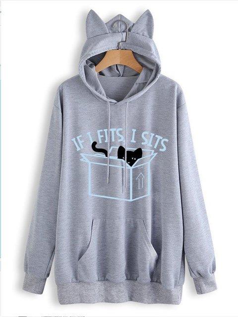 Long Sleeve Hoodie Casual Plain Shirts & Blouses