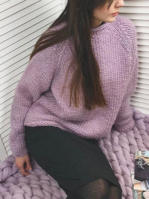 Casual Plain Crew Neck Long Sleeve Sweaters