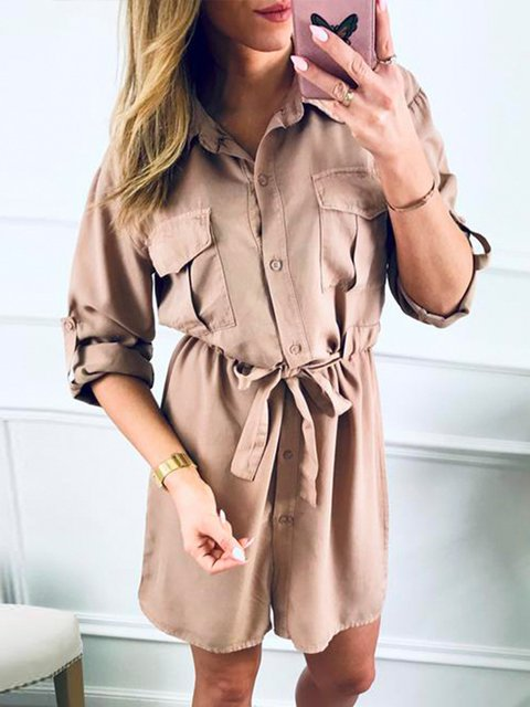 Shirt Collar Women Dresses Shift Cotton Dresses