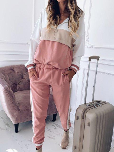 Hoodie Striped Long Sleeve Basic Suit Set
