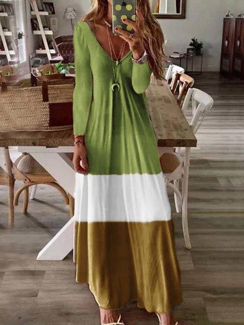 Tie-Dye Casual Long Sleeve Dress