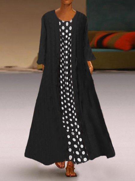 Shift Casual Sleeveless Cotton Polka Dots Dresses