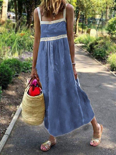 Blue Casual Geometric Cotton-Blend Dresses