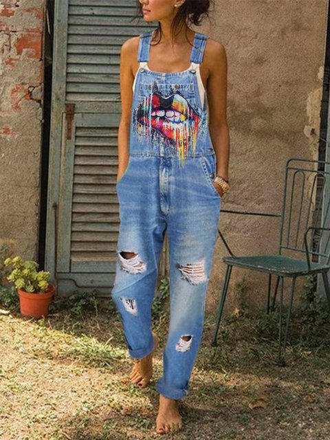 Women's Casual Denim Floral-print Rompers