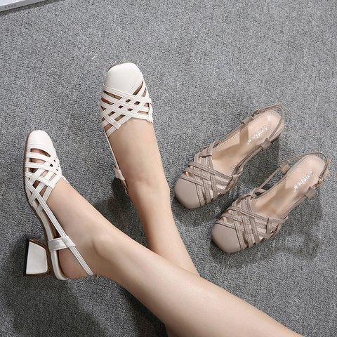 Date Genuine Leather Pointed Toe Chunky Heel Slide Sandals