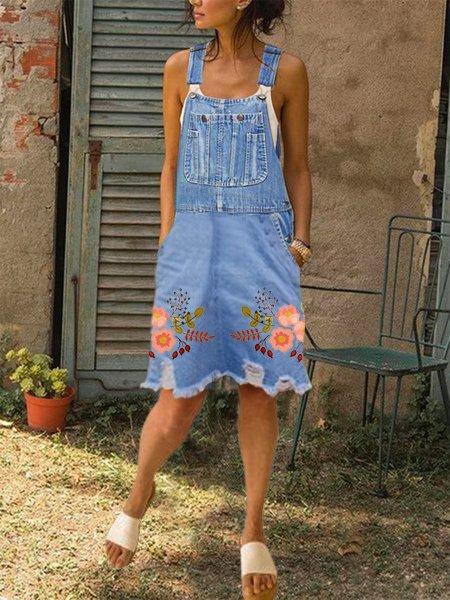 Flora Casual Denim Short Dress