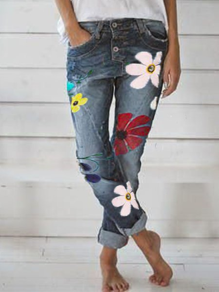 Women Denim Floral Casual Pants