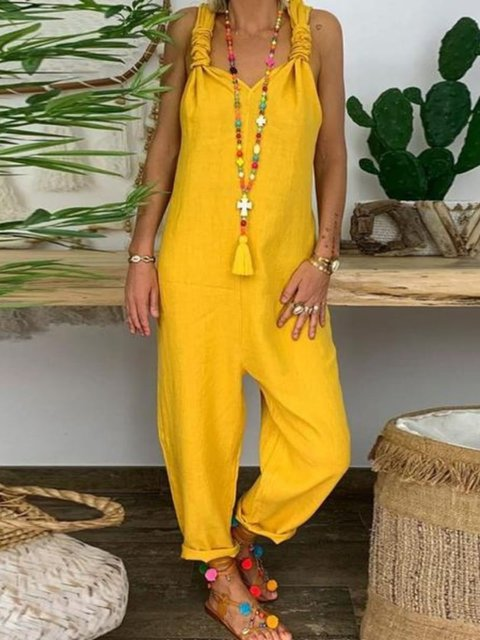 Yellow Boho Solid Pants