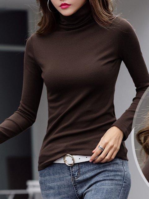Cowl Neck Plain Casual Long Sleeve Shirts