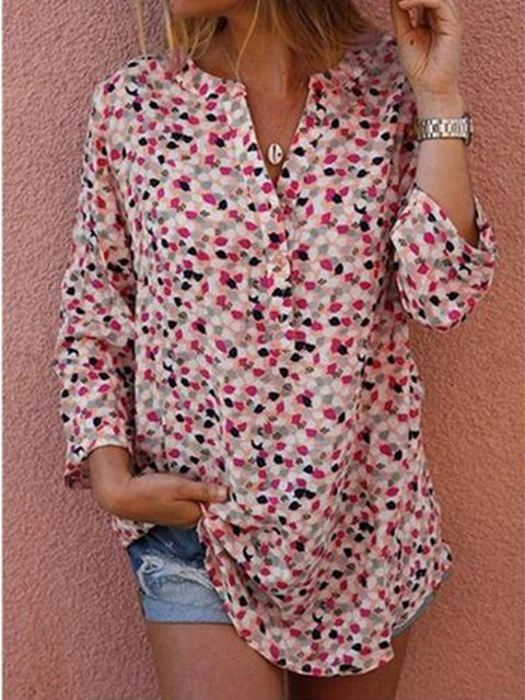 Women V neck Floral-Print Long Sleeve Shirts