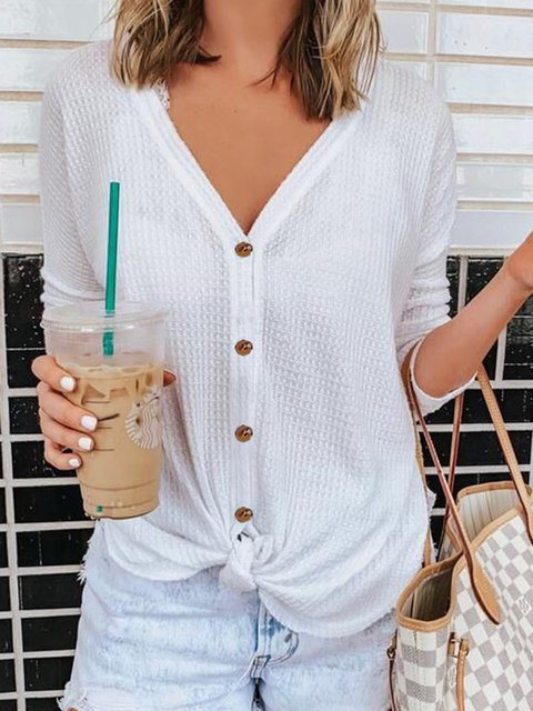 Long Sleeve Buttoned Casual Knitted Tops