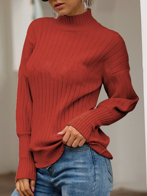 Paneled Long Sleeve Basic Sweaters