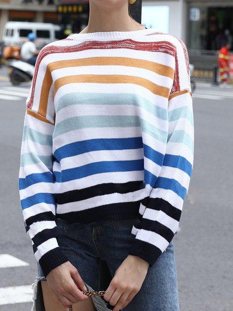 Women Round Neck Long Sleeve Stripes Shirts