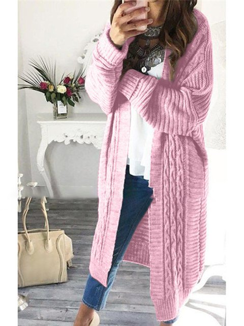 Casual Long Sleeve Knitted Plain Outerwear