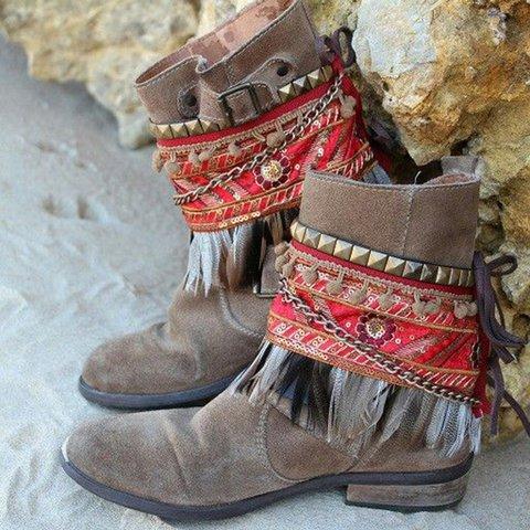 Women Retro Slide Tassel Artificial Suede Casual Boots