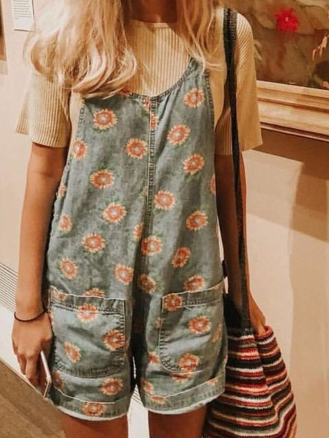 Casual Printed Sleeveless Jumpsuits