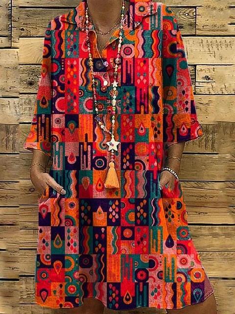 Shirt Collar Women Dresses Casual Boho Dresses