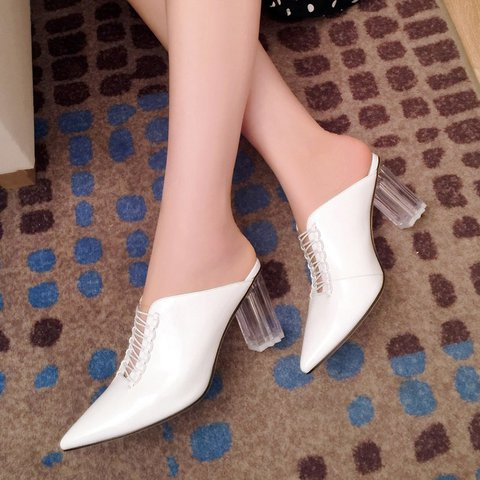 Date Leather Pointed Toe Chunky Heel Slide Sandals