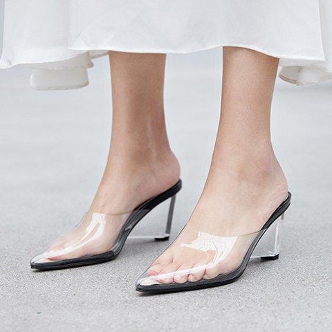 Date Genuine Leather Pvc Open Toe Chunky Heel Slide Sandals