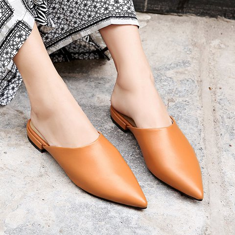Date Genuine Leather Pointed Toe Low Heel Slide Sandals