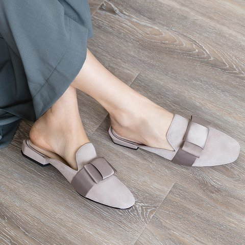 Date Genuine Leather Square Toe Low Heel Slide Mule Sandals