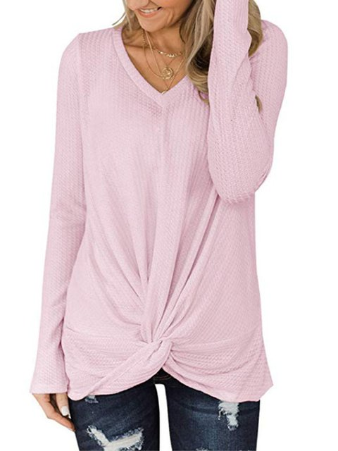 Plus Size Long Sleeve Knot Front Women T-shirts
