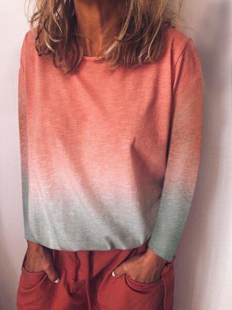 Plus Size Gradient Long Sleeve Women 2019 T-shirts