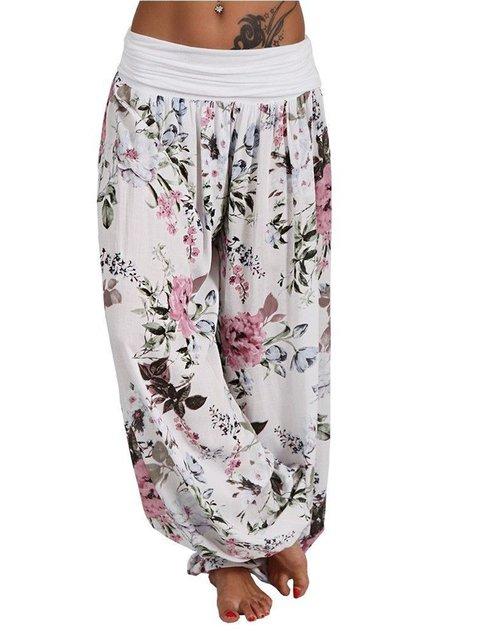 Plus Size Floral Print Loose Fit Women Haren Pants