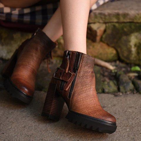 Women Fall Adjustable Buckle Middle Heel Boots