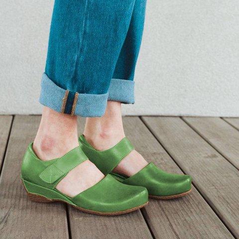 Pu Wedge Heel Loafers Magic Tape Mary Jane Shoes