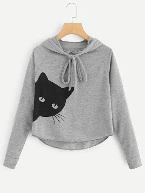 Cat Print Loose Fit Women Pullover Hoodies