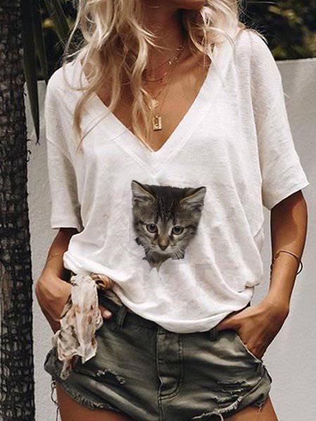 Floral Short Sleeve Cotton-Blend V Neck Shirts & Tops